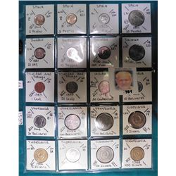 (20) Various foreign coins from Spain, Sweden, Switzerland, Taiwan, Trinidad & Tobago, Uruguay, Vene