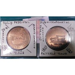 2000 Pella, Ia. 65th Annual Tulip Time festival Medal & 1839-1939 Fairfield, Iowa Sesquicentennial m