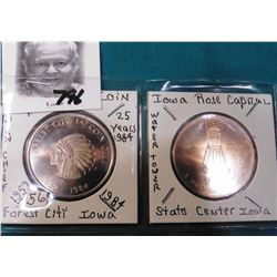 1959-1984 Forest City, Iowa Coin Club Medal & 1980 Rose Capitol, State Center, Iowa Medal.