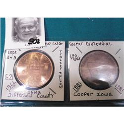 National Plowing Contest Medal Sept. 8-9th, 1966 & 1881-1981 Cooper, Iowa Centennial Medal.