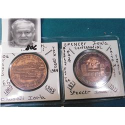 1882-1988 Arnold's Park Farewell Old Friend, Okoboji, Iowa Medal & 1871-1971 Spencer, Iowa Centennia