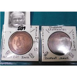 1899-1974 Diamond Jubilee Albert City, Iowa & 1878-1978 Dumont, Iowa Centennial Medals.