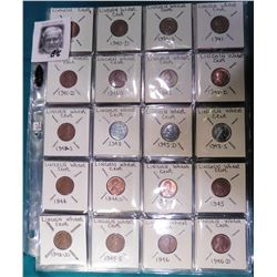 Lincoln Wheat Cents 1940 P, D, S thru 1958 P & D Complete set 54 coins. Many BU in 3 plastic pages.