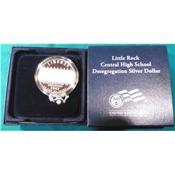 2007 P Little Rock Central High School Desegregation Proof Silver Dollar in original U.S. Mint box o