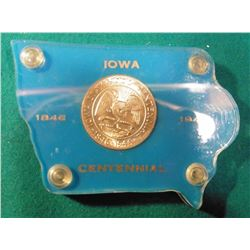 1846-1946 Iowa Centennial Commemorative Silver Half-Dollar in an Iowa map shaped Capital style holde