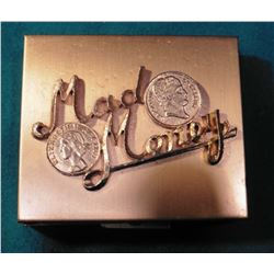 """Mad Money"" Small Coin-holder Jewelry Box with raised gold-lettering and coin design in case."