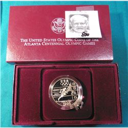 1995 P U.S. Atlanta Centennial Olympic Games Proof Silver Dollar in original box of issue.
