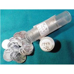Roll of (50) 1943 P Reprocessed World War II Zinc-coated Steel Cents in a plastic tube.