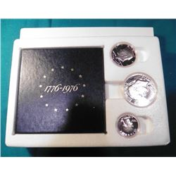 1776-1976 S U.S. Three-Piece Silver Proof Set in original box of issue.