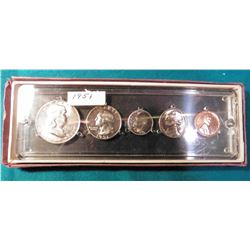 1951 U.S. Proof Set. Five-piece in an old Seitz Coin holder. A superb Gem Set.