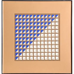 Karen James, Blue and Tan Squares, Silkscreen and 3-D Mixed Media