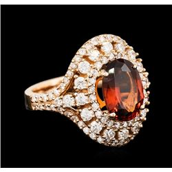 18KT Rose Gold 3.31ct Garnet and Diamond Ring