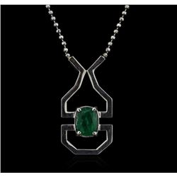 SILVER 2.00ct Emerald Necklace