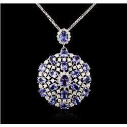14KT White Gold 18.08ctw Tanzanite and Diamond Pendant With Chain