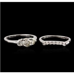 14KT White Gold 1.57ctw Diamond Wedding Ring Set