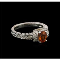 1.07ct Spessartite and Diamond Ring - 14KT White Gold