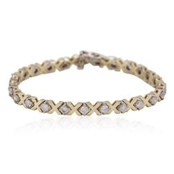 14KT Yellow Gold 2.23ctw Diamond Tennis Bracelet