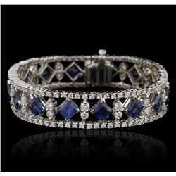 18KT White Gold 16.40ctw Sapphire and Diamond Bracelet
