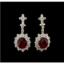 19.53ctw Ruby and Diamond Dangle Earrings - 14KT Yellow Gold