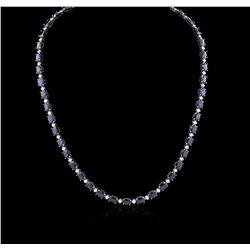 14KT White Gold 37.72ctw Sapphire and Diamond Necklace