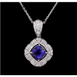 14KT White Gold 2.31ct Tanzanite and Diamond Pendant With Chain