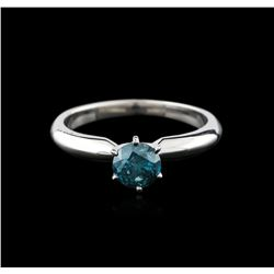 14KT White Gold 0.68ct Round Cut Fancy Blue Diamond Solitaire Ring
