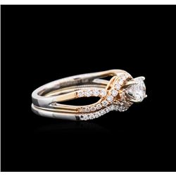 1.06ctw Diamond Wedding Ring Set - 18KT Two-Tone Gold