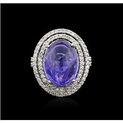 14KT White Gold 13.17ct Tanzanite and Diamond Ring