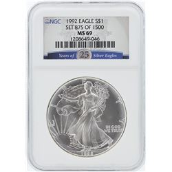 1992 NGC MS69 25th Anniversary American Silver Eagle Dollar