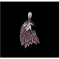 18KT White Gold 1.12ctw Ruby and Tsavorite Eagle Pendant
