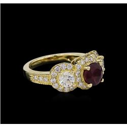 14KT Yellow Gold 1.78ct Ruby and Diamond Ring