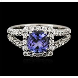 14KT White Gold 1.41ct Tanzanite and Diamond Ring