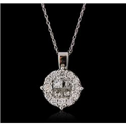 14KT White Gold 0.60ctw Diamond Pendant with Chain