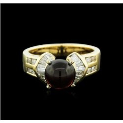 18KT Yellow Gold 2.18ct Tourmaline and Diamond Ring
