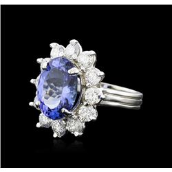 14KT White Gold 6.57ct Tanzanite and Diamond Ring