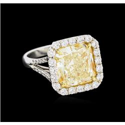 EGL USA Cert 6.95ctw Fancy Yellow Diamond Ring - Platinum