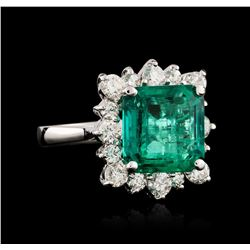 14KT White Gold GIA Certified 6.41ct Emerald and Diamond Ring