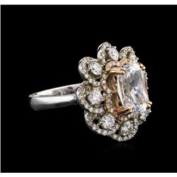 GIA Certified 4.02ct White Sapphire and Diamond Ring - 14KT Two-Tone Gold