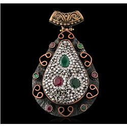 Silver and Gold 1.57ctw Ruby, Green Crystal, Emerald and Cubic Zirconia Pendant