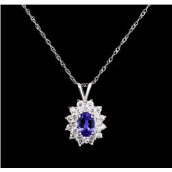 0.76ct Tanzanite and Diamond Pendant With Chain - 18KT White Gold