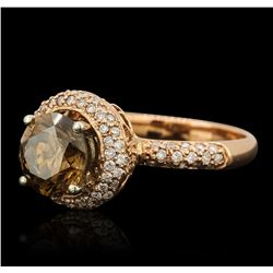 14KT Rose Gold 2.61ctw Brown Diamond Ring