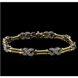 1.20ctw Diamond Bracelet - 14KT Two-Tone Gold