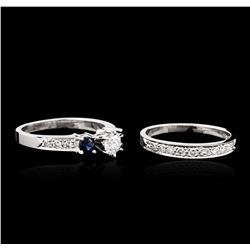 14KT White Gold 0.85ctw Diamond and Sapphire Wedding Ring Set