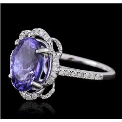 14KT White Gold 3.09ct Tanzanite and Diamond Ring