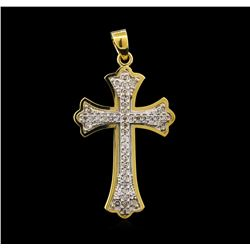 0.60ctw Diamond Cross Pendant - 14KT Yellow Gold