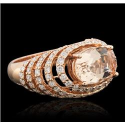 14KT Rose Gold 3.74ct Morganite and Diamond Ring