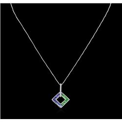 1.90ctw Sapphire and Diamond Pendant With Chain - 14KT White Gold