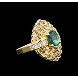 14KT Yellow Gold 1.33ct Emerald and Diamond Ring