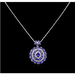 14KT White Gold 12.68ctw Tanzanite and Diamond Pendant With Chain