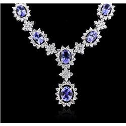 14KT White Gold 10.44ctw Tanzanite and Diamond Necklace